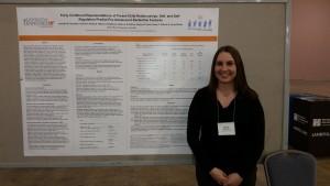 Jennifer Strimpfel in front of her poster at SRCD